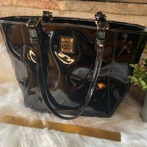 Dooney & Bourke Black Patent Leather Janie Tote